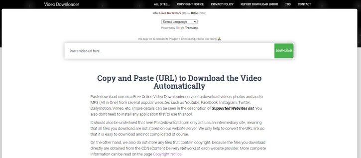 pastedownload video downloader
