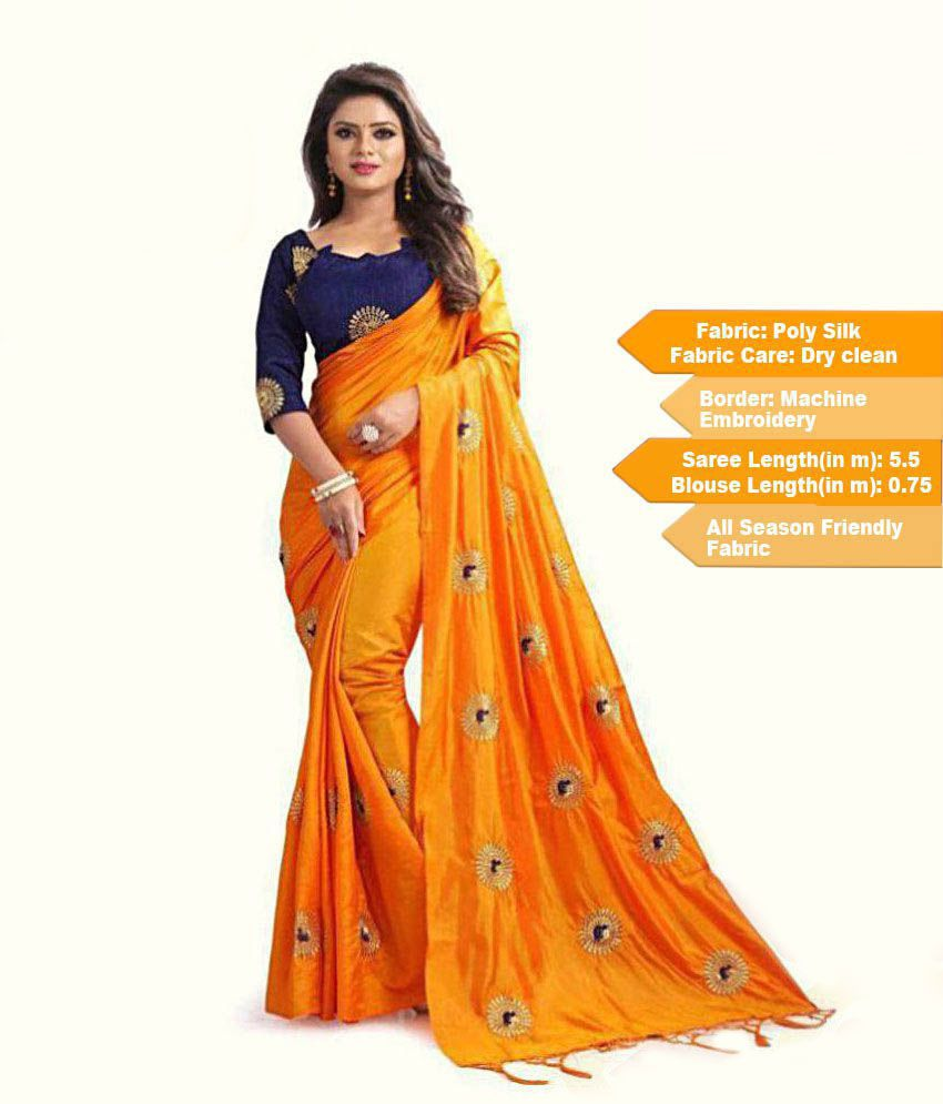 yellow and blue Blouse And Saree