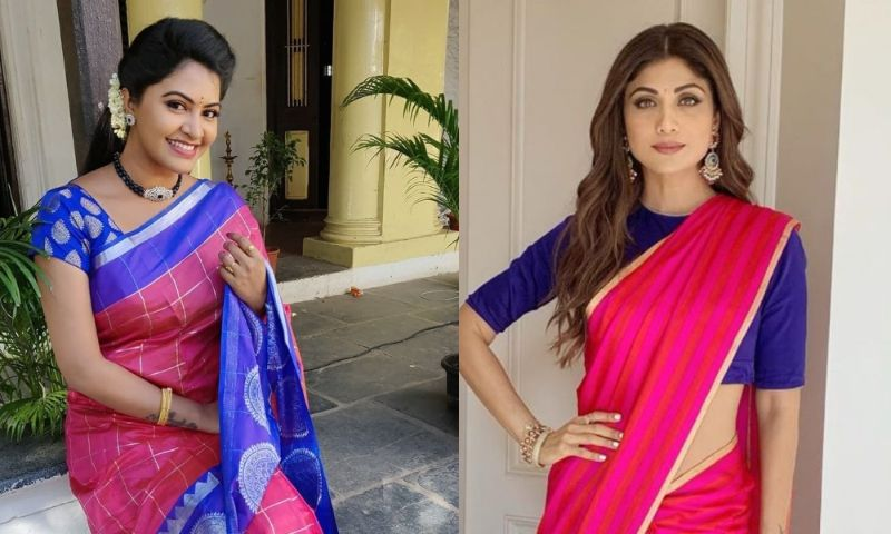 pink and blue Blouse And Saree