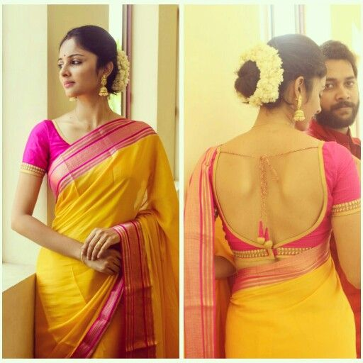 pink and yellow Blouse And Saree