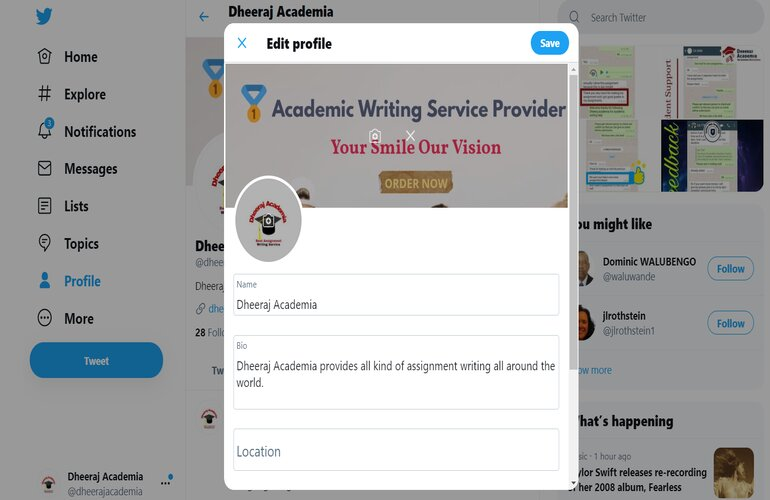 modify your twitter profile
