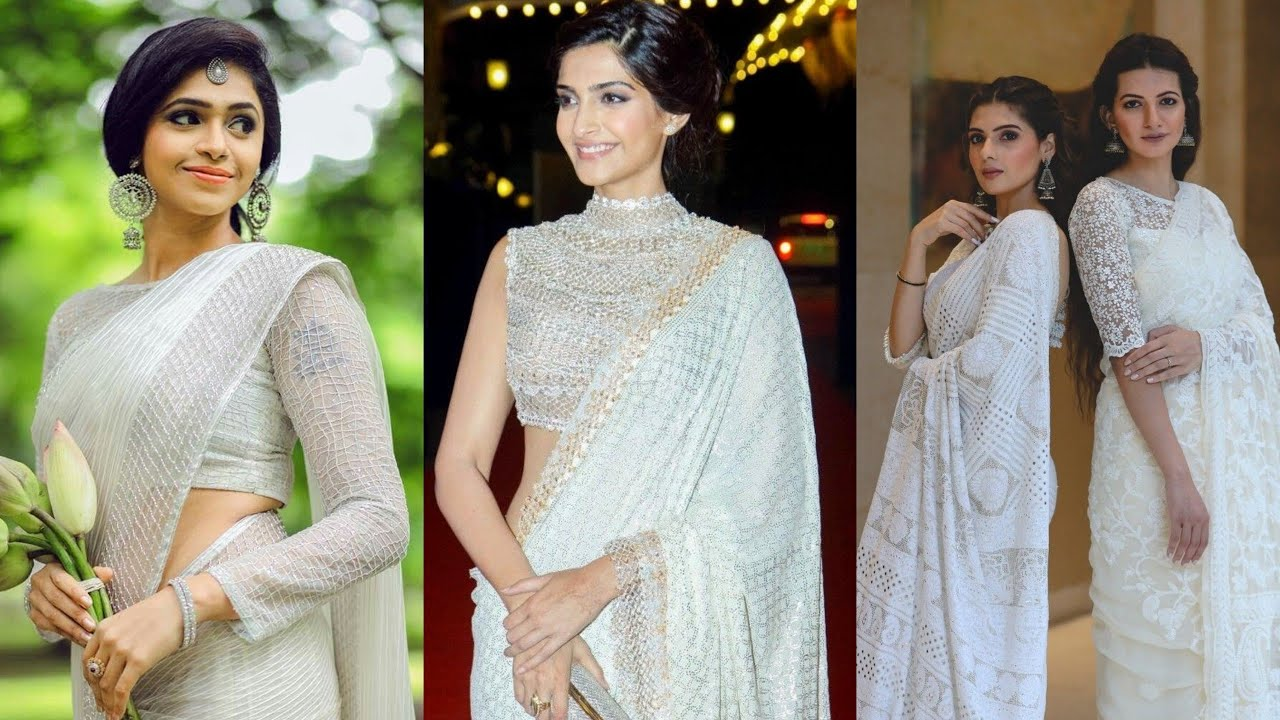 white with any color Blouse And Saree