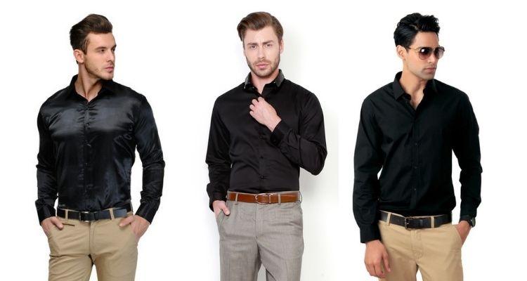 Black Slim Fit Party Wear Shirt